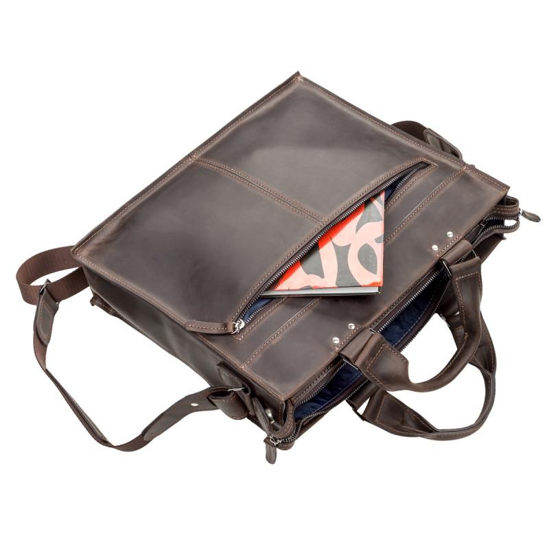 Сумка для ноутбука SHVIGEL 11109 кожаная Коричневая