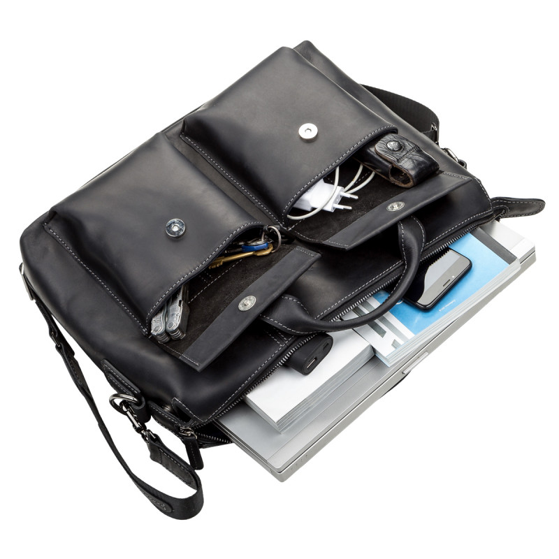 Сумка для ноутбука SHVIGEL 11111 кожаная Черная