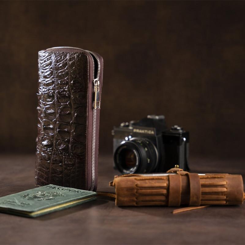 Кошелек-клатч из натуральной кожи крокодила CROCODILE LEATHER 18017 Коричневый
