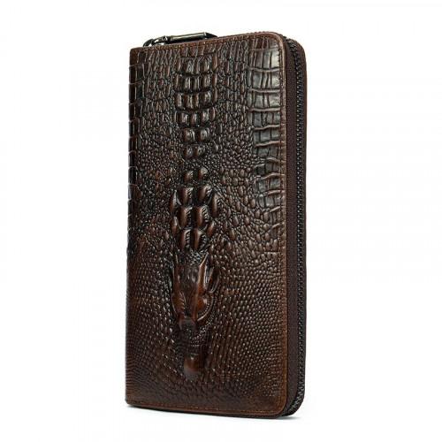 Мужской клатч с силуэтом каймана 20235 Vintage Коричневый