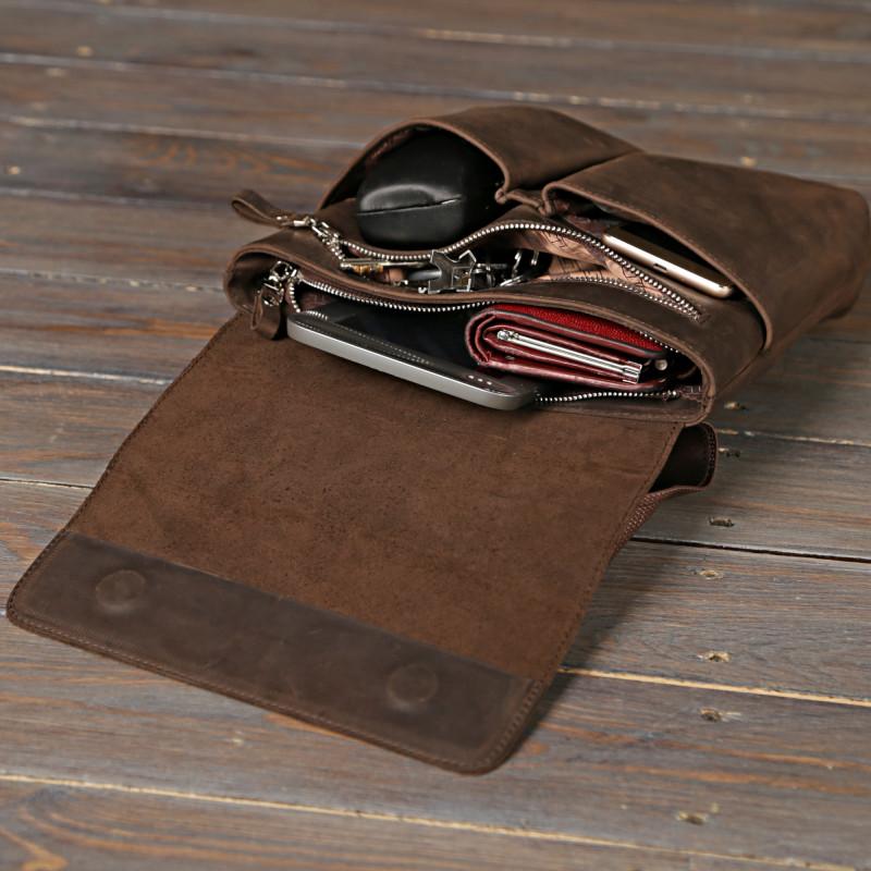 Сумка SHVIGEL 00998 из винтажной кожи Коричневая