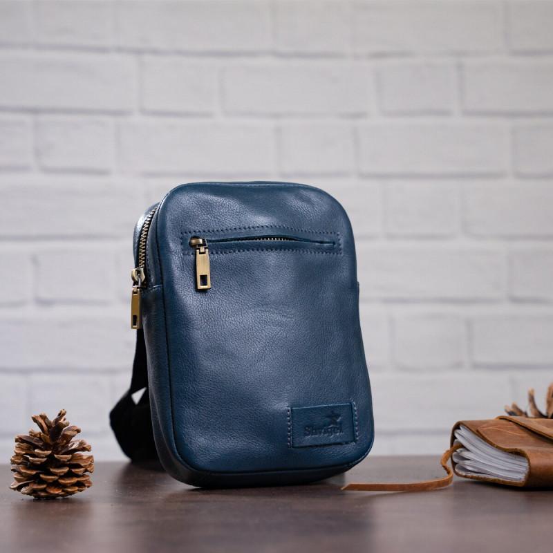 Мужская кожаная сумка SHVIGEL 19105 Синяя