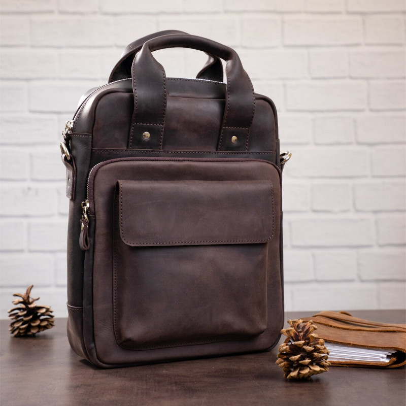 Винтажная сумка под А4 вертикального формата в матовой коже 11166 SHVIGEL, Коричневая
