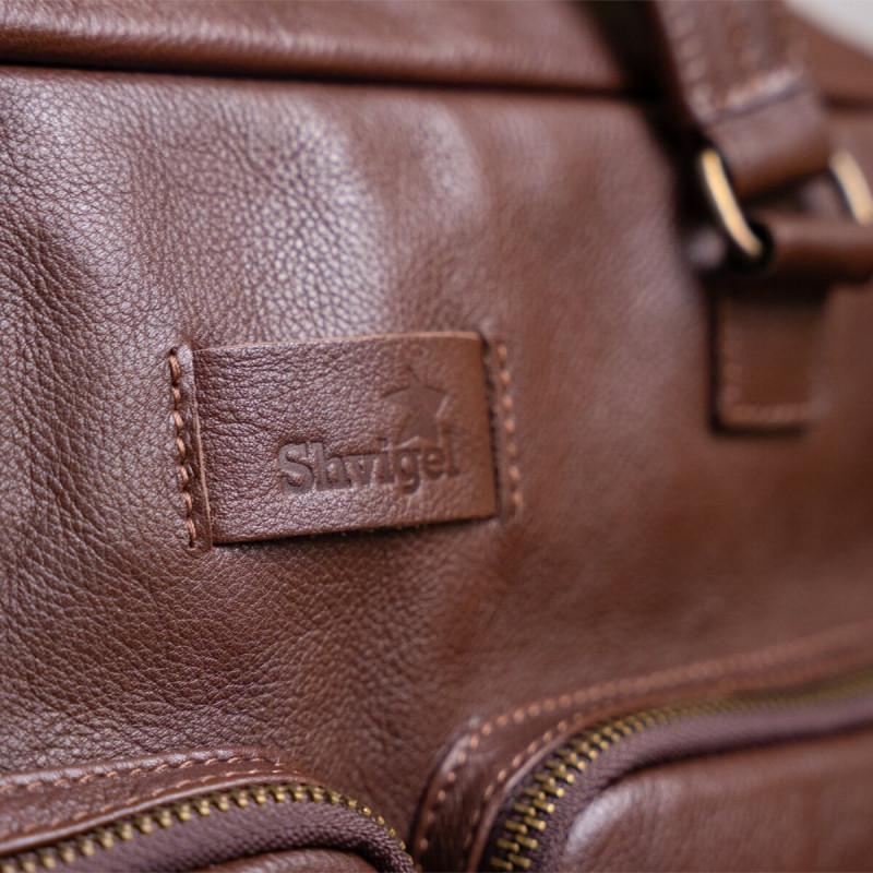 Мужская кожаная сумка для ноутбука SHVIGEL 19109 Коричневая