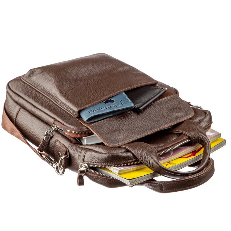 Качественная мужская сумка вертикального формата SHVIGEL 11168 под А4 Коричневая флотар
