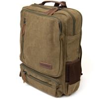 Рюкзак текстильный дорожный унисекс на два отделения Vintage 20612 Зеленый