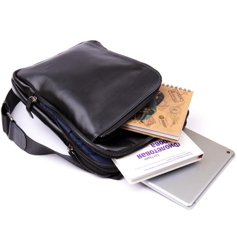 Мужская сумка планшет с накладным карманом на молнии в гладкой коже 11281 SHVIGEL, Черная