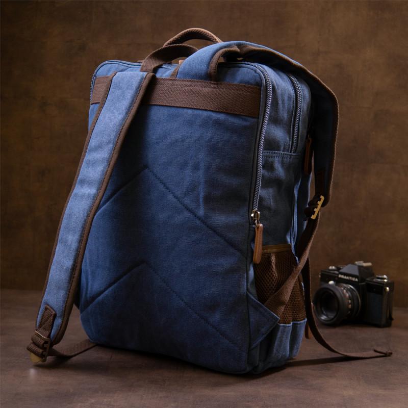 Рюкзак текстильный дорожный унисекс на два отделения Vintage 20613 Синий