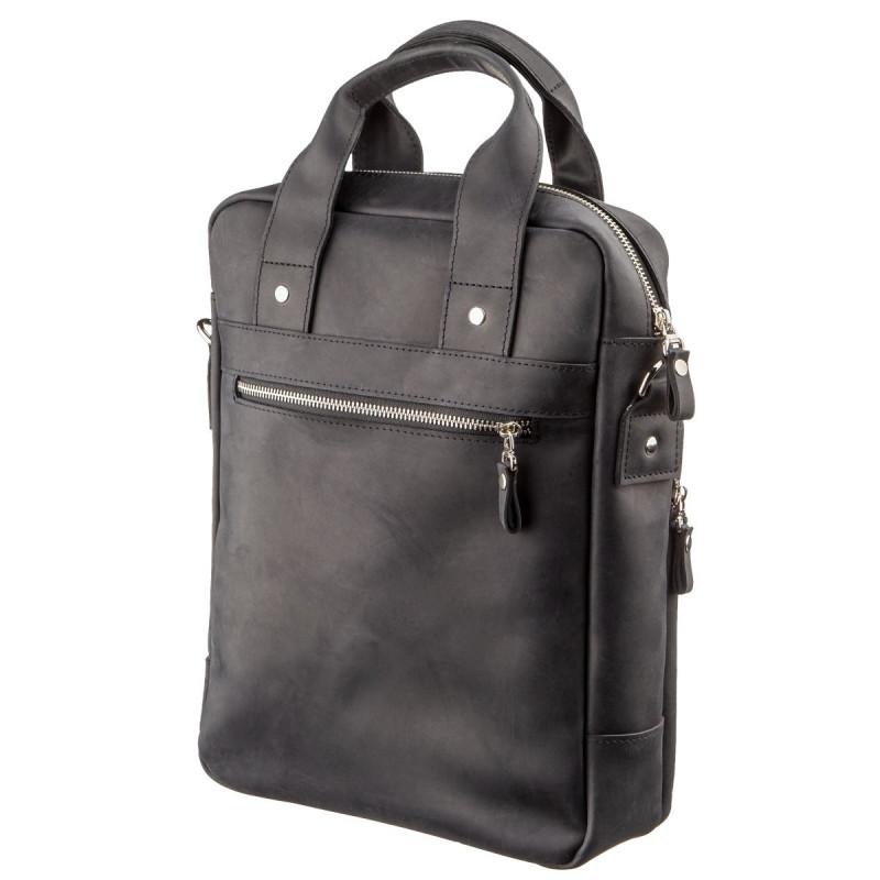 Мужская сумка вертикальная SHVIGEL 11169 под А4 матовая Черная