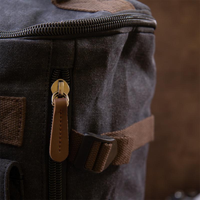 Рюкзак текстильный дорожный унисекс с ручками Vintage 20663 Черный