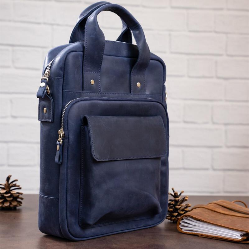 Стильная сумка под А4 вертикального формата в матовой коже 11170 SHVIGEL, Синяя