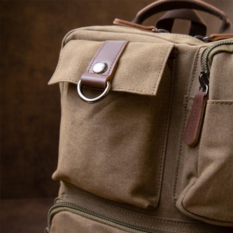 Рюкзак текстильный дорожный унисекс Vintage 20620 Оливковый