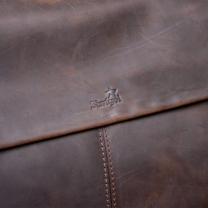 Большая мужская сумка SHVIGEL 11119 кожаная Коричневая