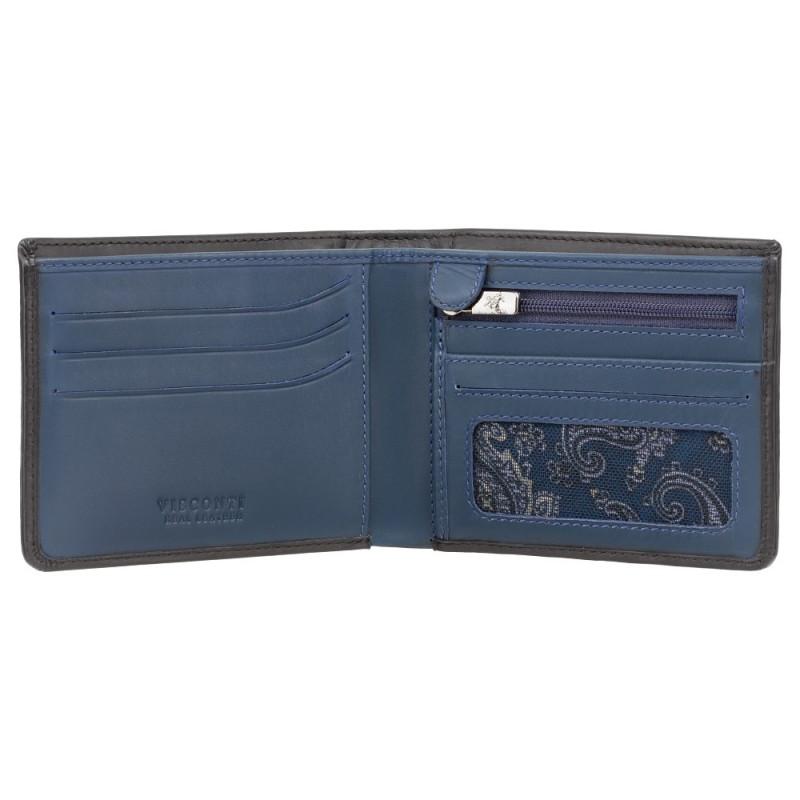 Кошелек мужской Visconti VSL33 TAP-N-GO c RFID (Black-Steel Blue)
