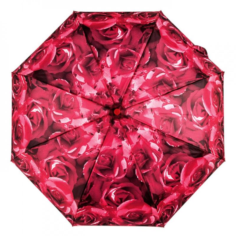 Зонт женский Fulton Open & Close-4 L346 Photo Rose Red (Красные розы)