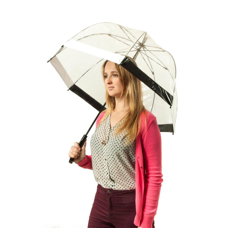 Зонт-трость женский Fulton Birdcage-1 L041 Black White (Черно-белый)